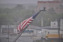 American flag, Essentia Health St. Joseph MC in background