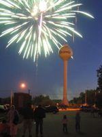 Fireworks near water tower Onamia MN