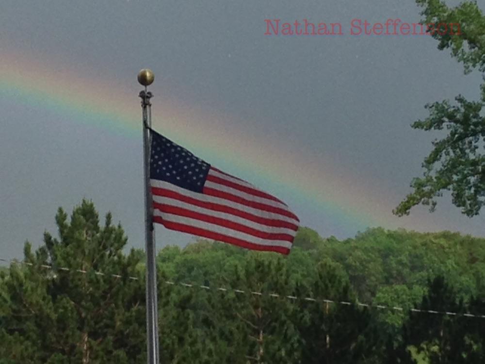 usa flag and rainbow
